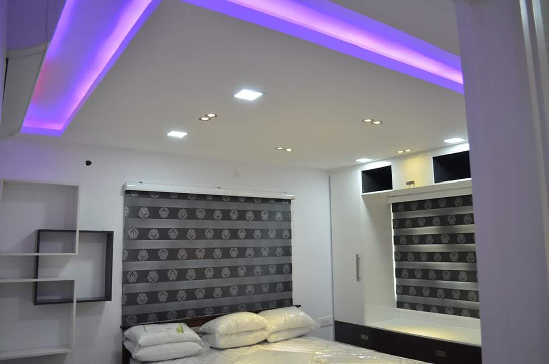 Purple Lighting In Modern False Ceiling by Ravikanth T Bedroom Modern | Interior Design Photos & Ideas