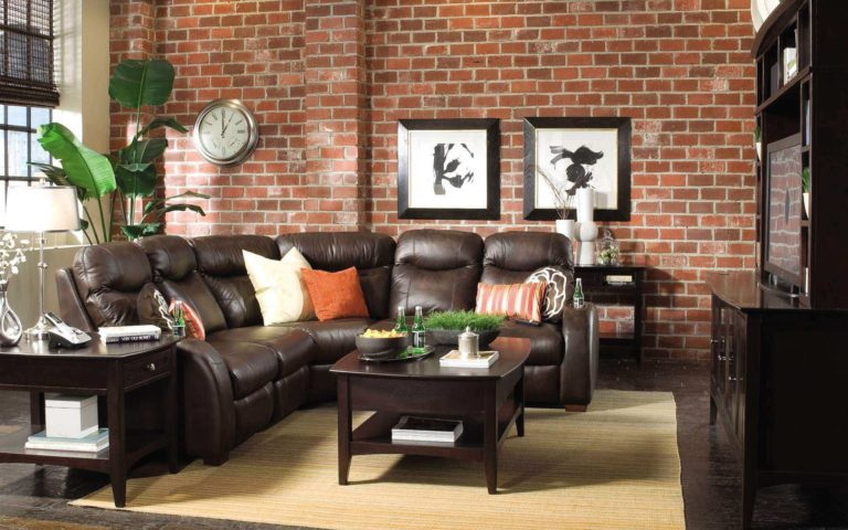Brown Leather Sofa And Brick Wall by Raja Khan Living-room Contemporary | Interior Design Photos & Ideas