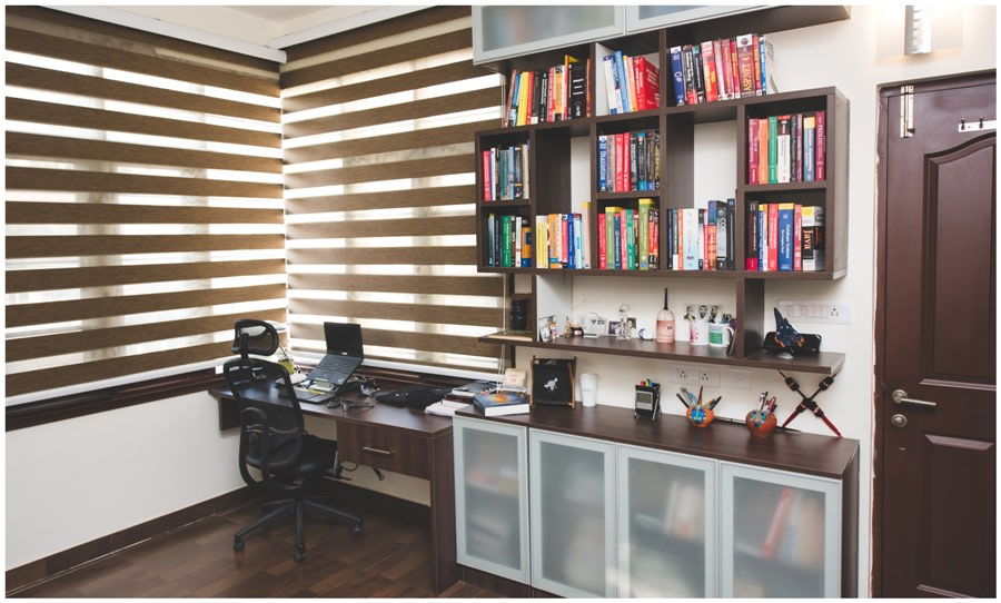 Study Room With  Wooden Block Book Shelf  and Wooden Display Unit by Shyama Viswanathan Indoor-spaces Modern | Interior Design Photos & Ideas
