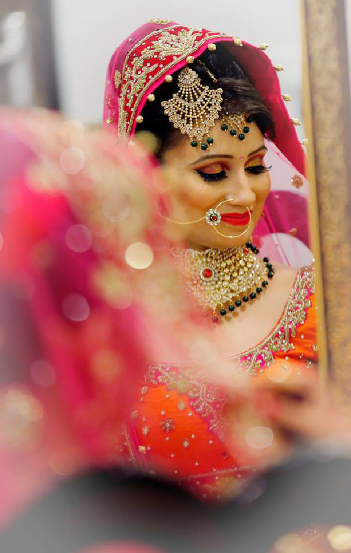 The pink outfit looks amazing on the beautiful bride by Vijay Kapoor Bridal-makeup | Weddings Photos & Ideas