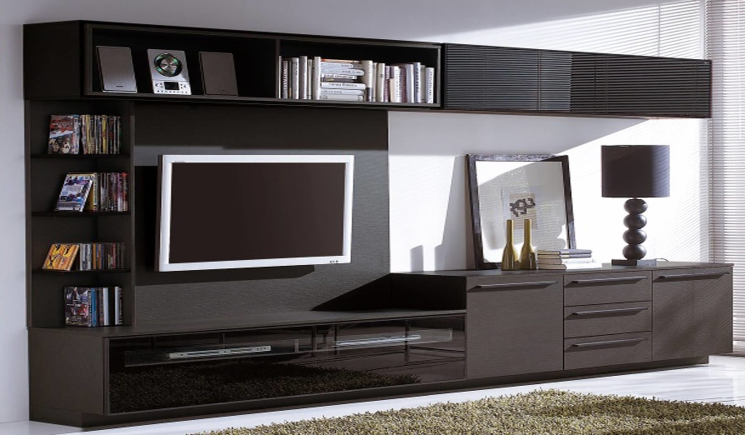 Wood Finish TV Cabinet by SJ Interior Decors Living-room Modern | Interior Design Photos & Ideas