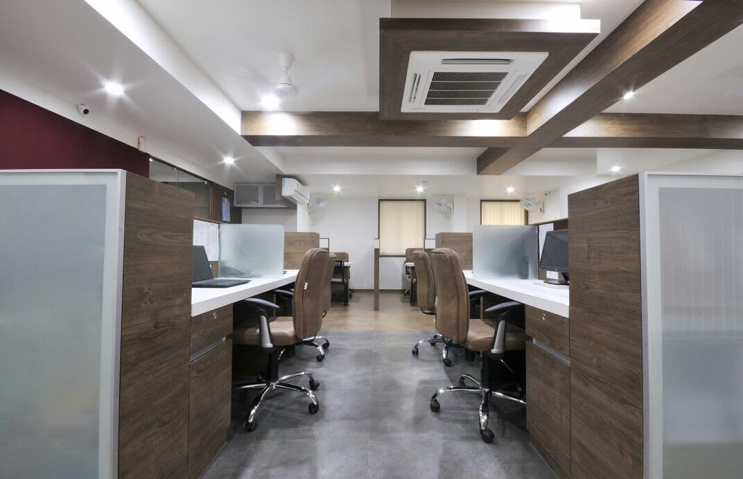 Office Hallway with Brown Decor by Jai Patel