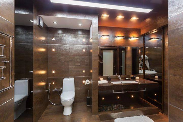 Modern Washroom With Brown And White Interior by Jai Patel Bathroom Modern | Interior Design Photos & Ideas