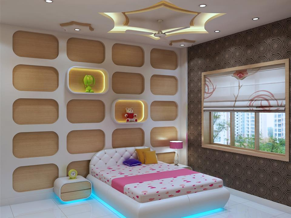 Bedroom with abstract designed wall and window by Prashant Mali Bedroom Modern | Interior Design Photos & Ideas
