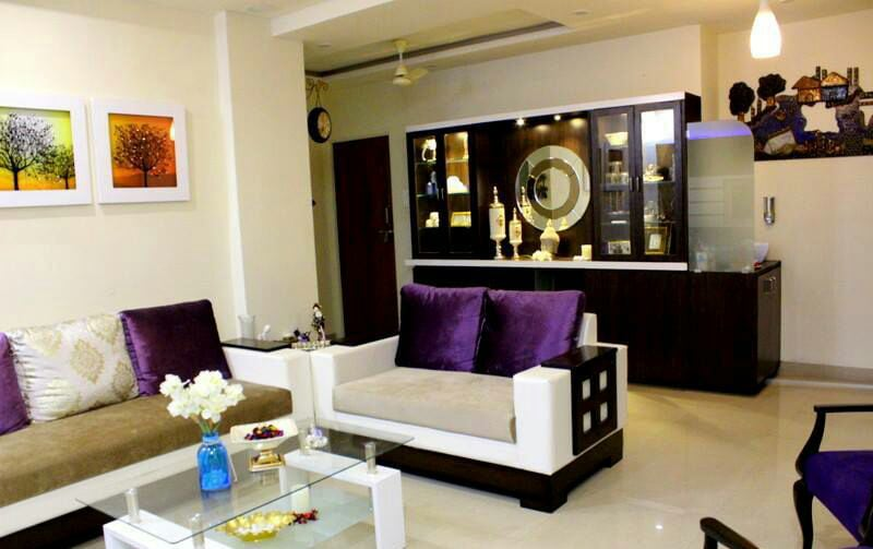 Living Room With White and Ebony Sofa and White Marble Floor by Rupali Khoje Modern | Interior Design Photos & Ideas