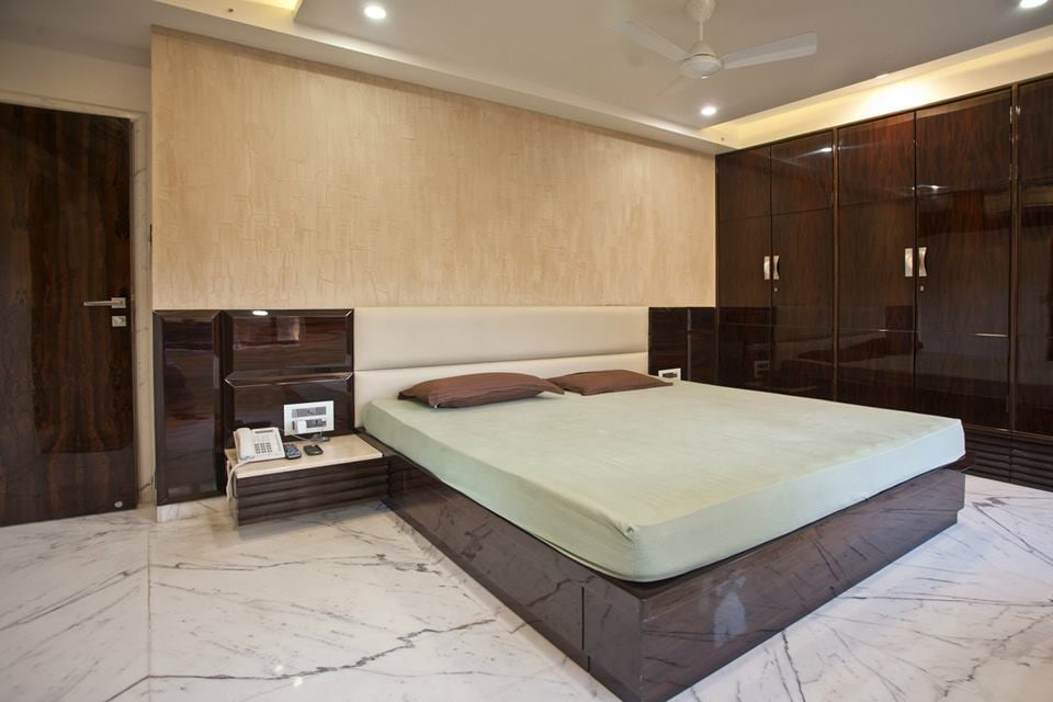 Bedroom With Marble Flooring by Nikeeta Mehta Bedroom Modern | Interior Design Photos & Ideas