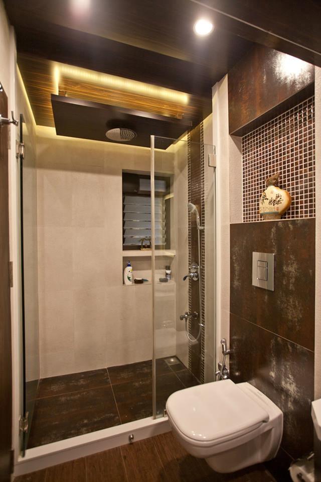 Bathroom With Artistic False Ceiling by Nikeeta Mehta Bathroom Modern | Interior Design Photos & Ideas