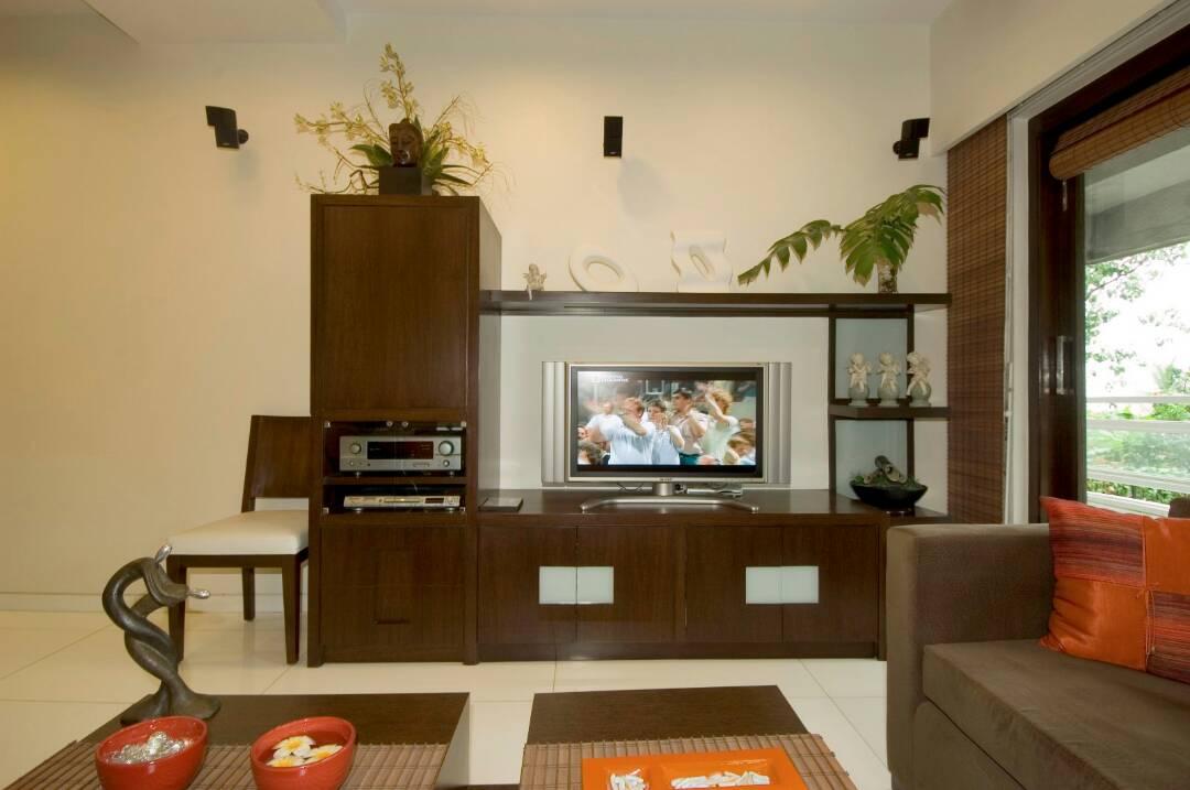 Living Room With Wooden Display Unit by Nikeeta Mehta Living-room Modern | Interior Design Photos & Ideas