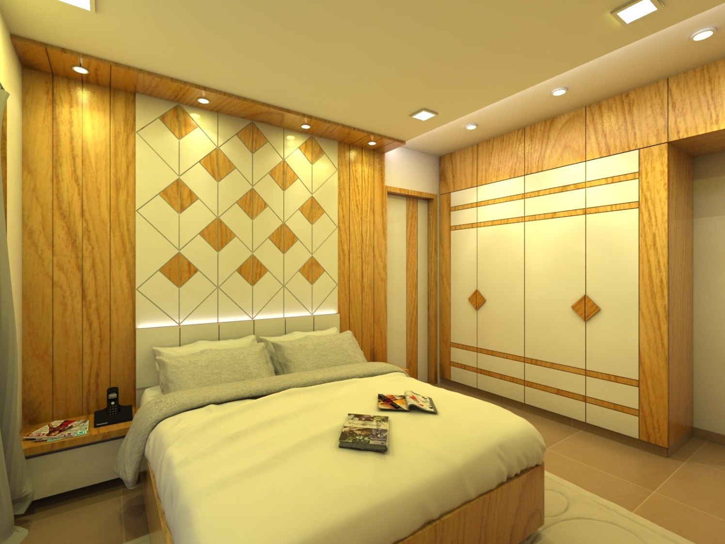 Bedroom With Queen Sized Bed and Wooden Panels by Umesh Vishwakarma Bedroom Contemporary | Interior Design Photos & Ideas