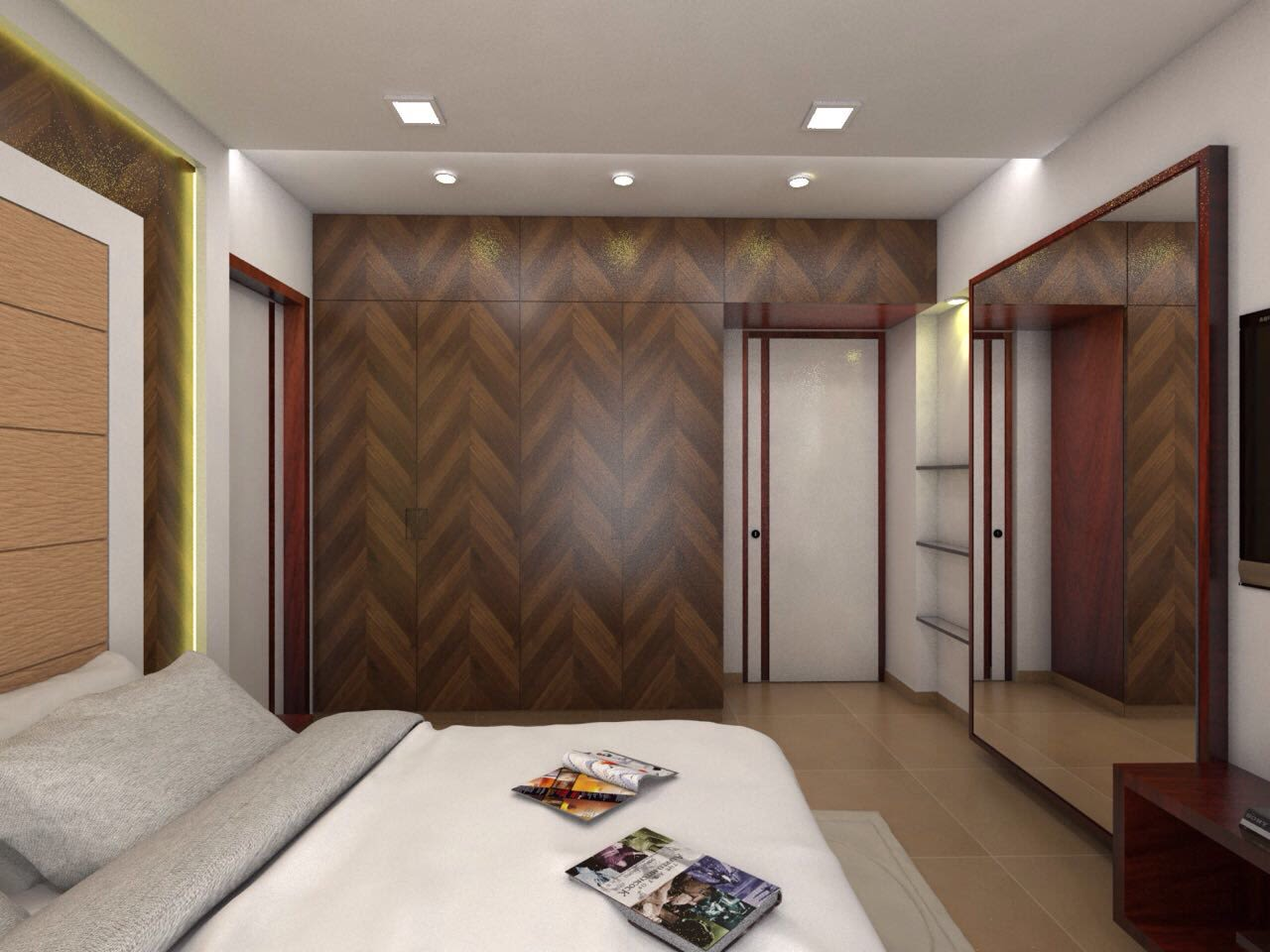 Guest Bedroom with Wooden Wardrobe and Full Wall Mirror by Umesh Vishwakarma Bedroom Contemporary | Interior Design Photos & Ideas