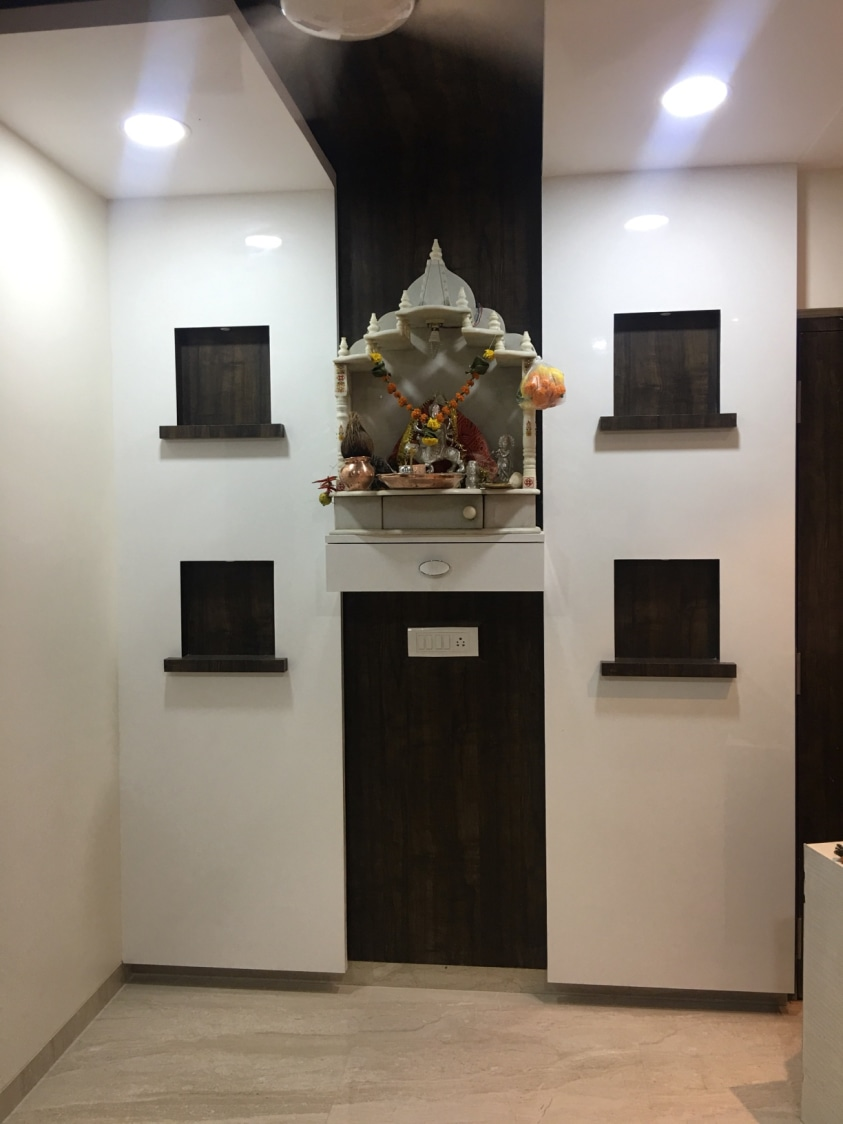 Small Prayer Room with White Marble Temple and Wooden Panels by Umesh Vishwakarma Indoor-spaces Contemporary | Interior Design Photos & Ideas