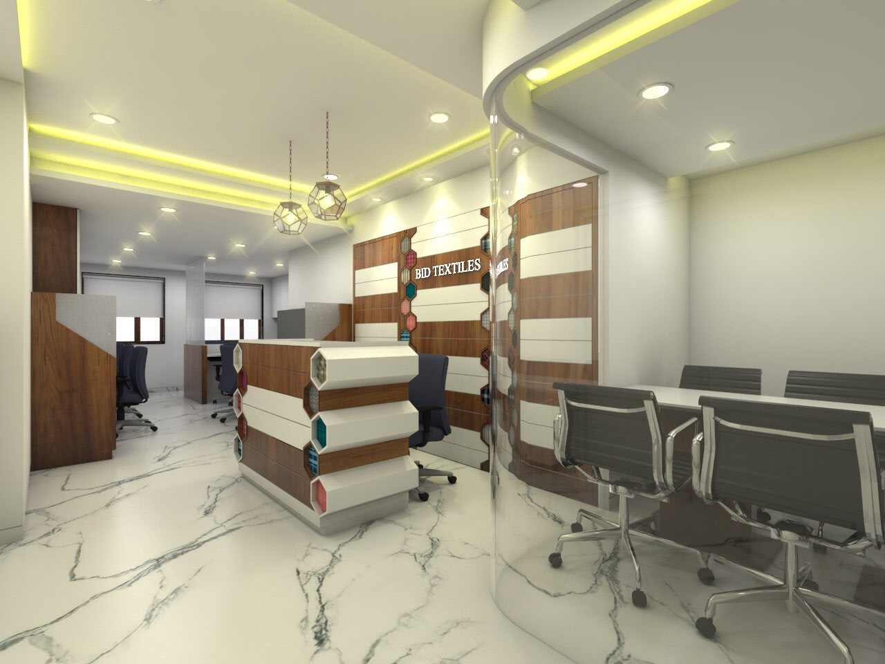 Office Reception with Marble Flooring and False Ceiling by Umesh Vishwakarma Contemporary | Interior Design Photos & Ideas