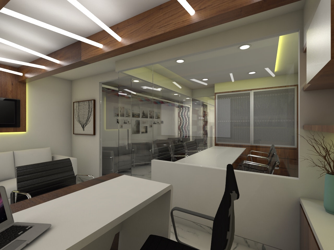 Office Space with White Wooden Desk and Glass Partition by Umesh Vishwakarma Modern | Interior Design Photos & Ideas