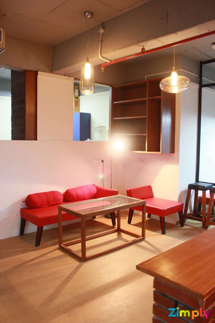 Red and Wood Finish Office by Aditya  Modern | Interior Design Photos & Ideas