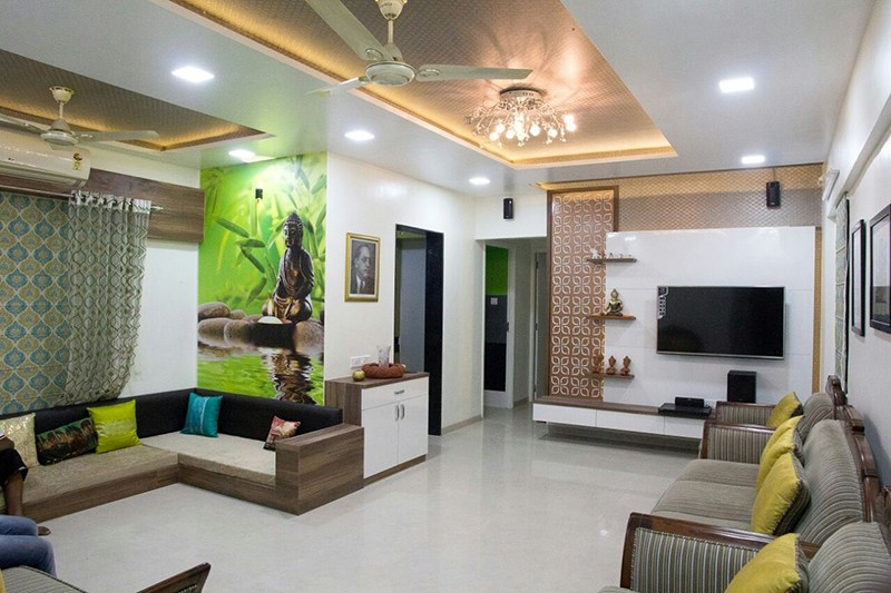 Living room with studio sofa and LED ceiling light in false ceiling by Bhagyashree Prajapati Living-room Contemporary | Interior Design Photos & Ideas