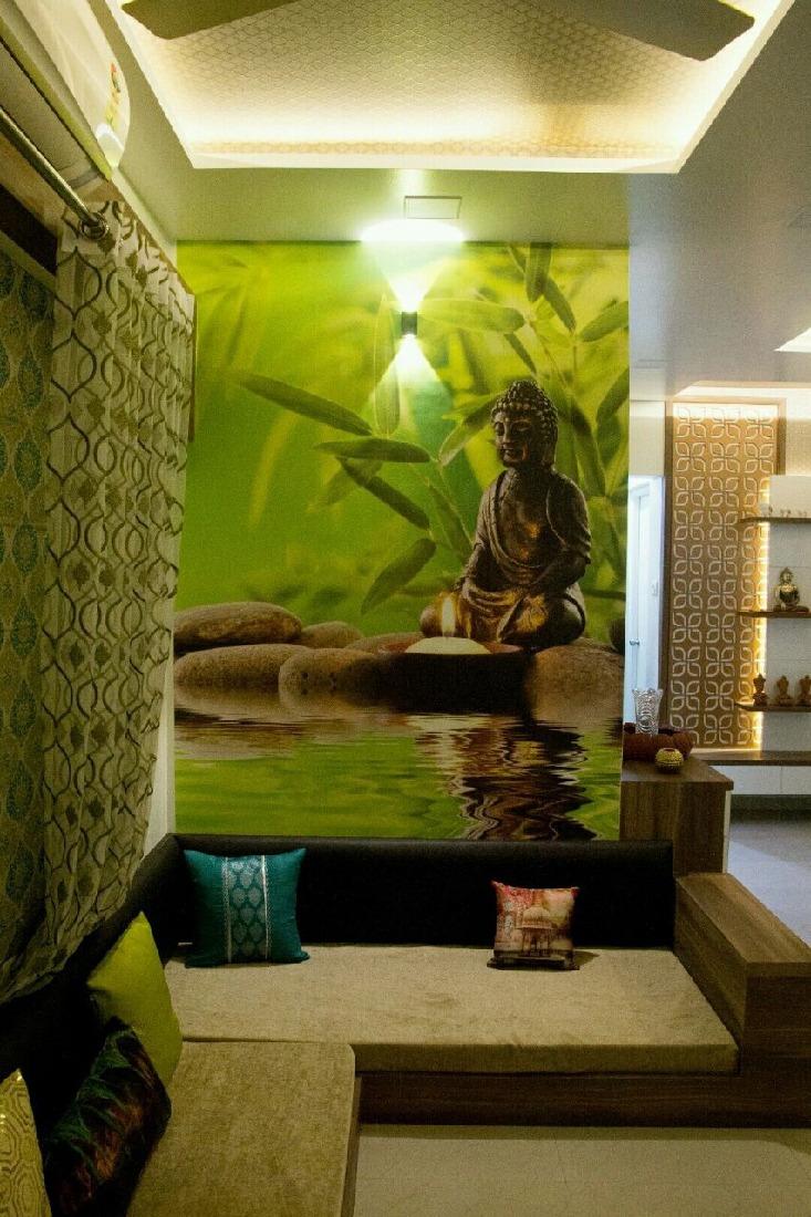 L shape sofa with  green wall art and false ceiling by Bhagyashree Prajapati Living-room Contemporary   Interior Design Photos & Ideas
