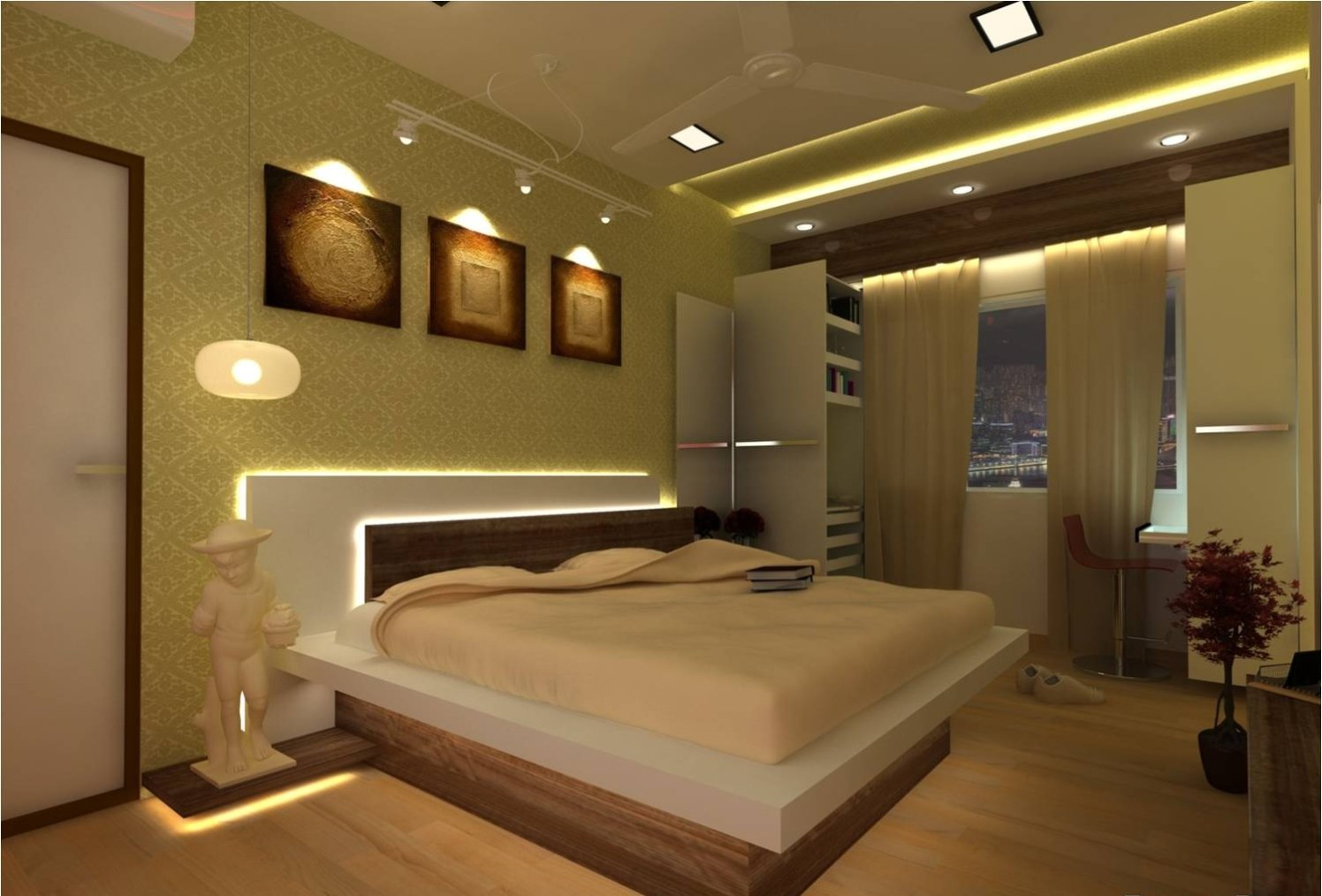 Beautifully Lit Bedroom! by Red Touch Interior & Retail Designers Bedroom Modern | Interior Design Photos & Ideas