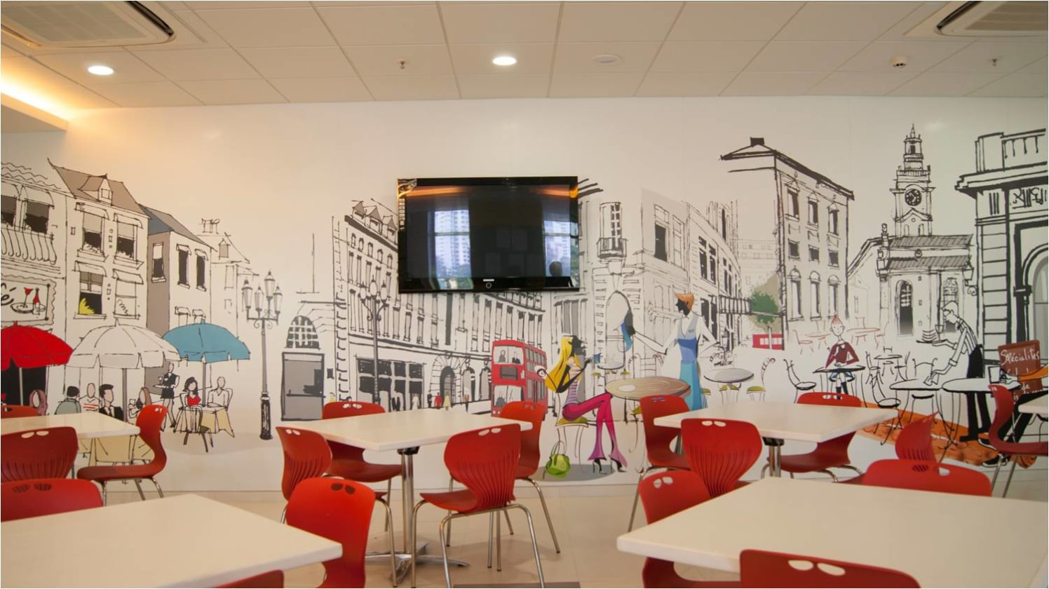 Office cafeteria! by Red Touch Interior & Retail Designers Modern   Interior Design Photos & Ideas
