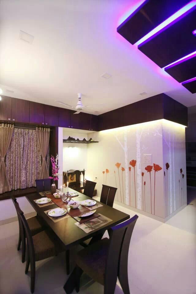 Dining area with wallpaper by Jitesh Dhoka Modern | Interior Design Photos & Ideas