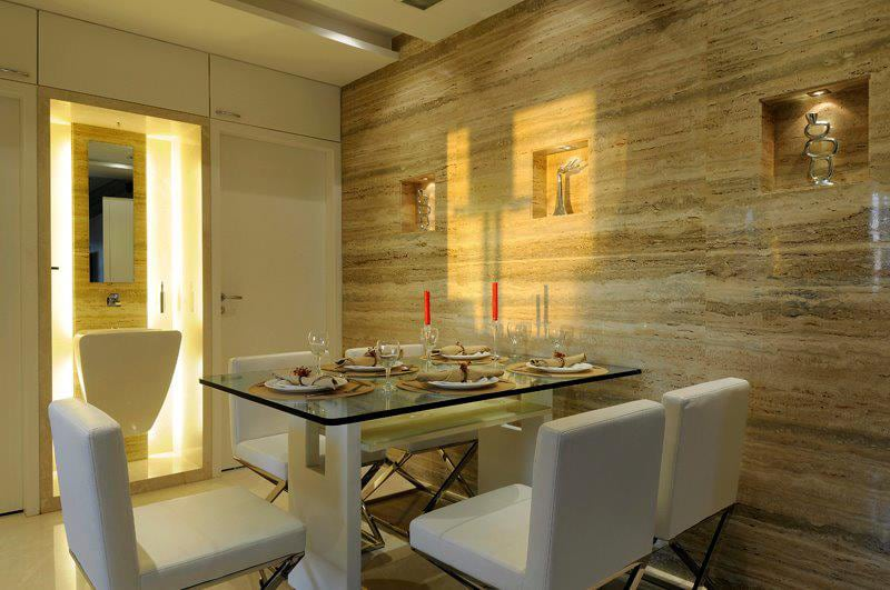 Dining area with granite panel and washbasin by Jitesh Dhoka Modern | Interior Design Photos & Ideas