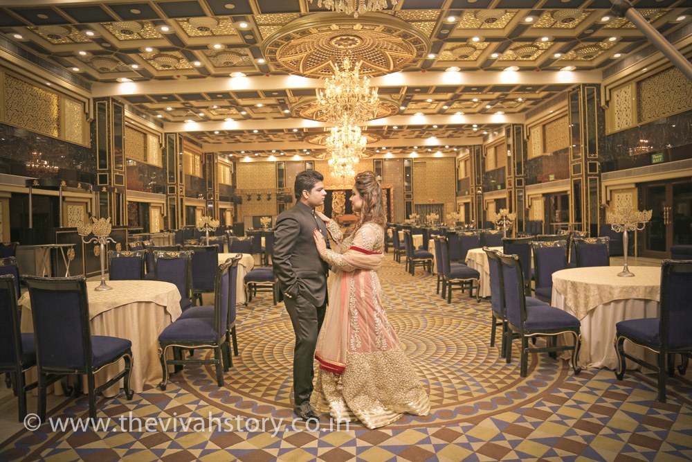 A Magnificent Bride And Groom Portrait On Wedding Reception by Mohit Wedding-photography Groom-wear-and-accessories Wedding-decor | Weddings Photos & Ideas