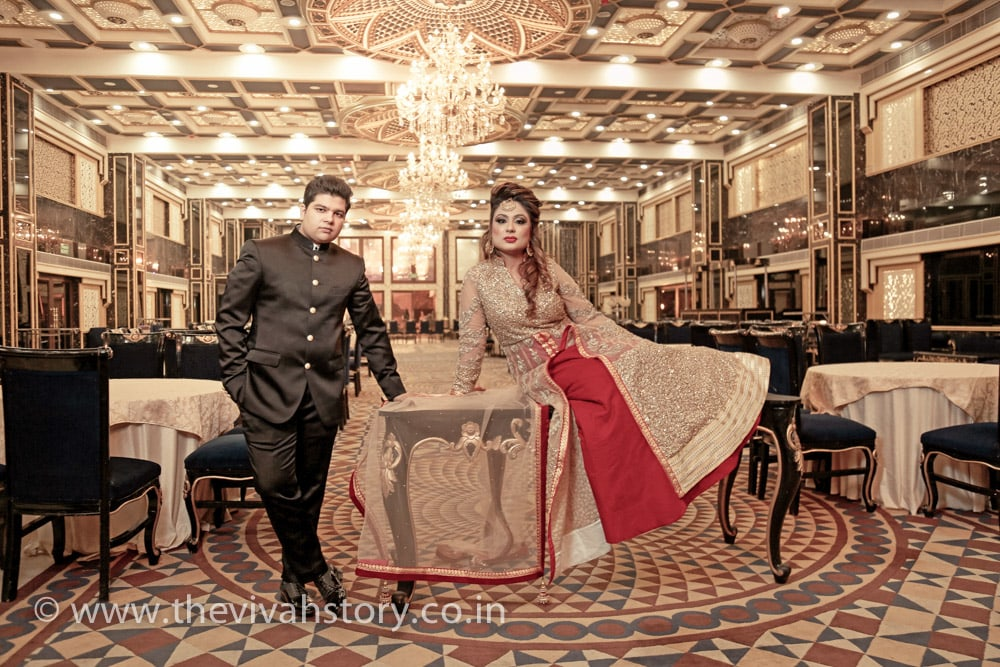 Bride And Groom Attire For Reception Day by Mohit Wedding-photography Groom-wear-and-accessories Wedding-dresses | Weddings Photos & Ideas