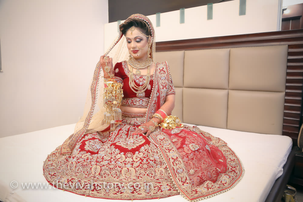 Rode Shaded Lehenga With Velvet Blouse With Stunning Gold Embroidery by Mohit Wedding-photography Wedding-dresses | Weddings Photos & Ideas