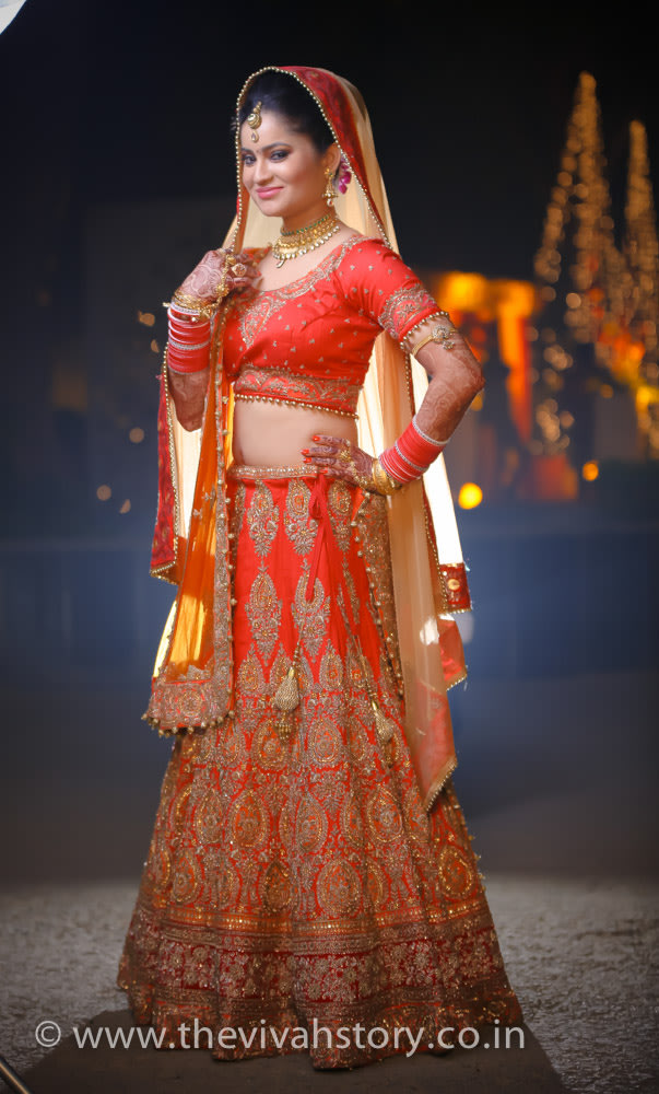 Classic Red Lehenga With Gold Embroidery by Mohit Wedding-photography Wedding-dresses | Weddings Photos & Ideas