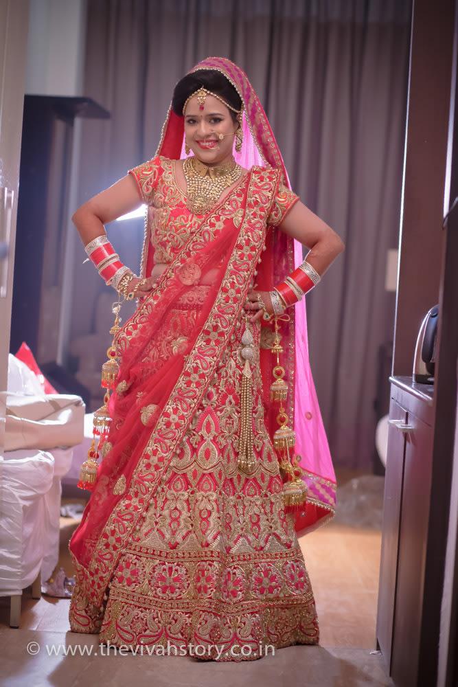 Rose Shaded Bridal Lehenga With Intricate Gold Work by Mohit Wedding-photography Wedding-dresses | Weddings Photos & Ideas