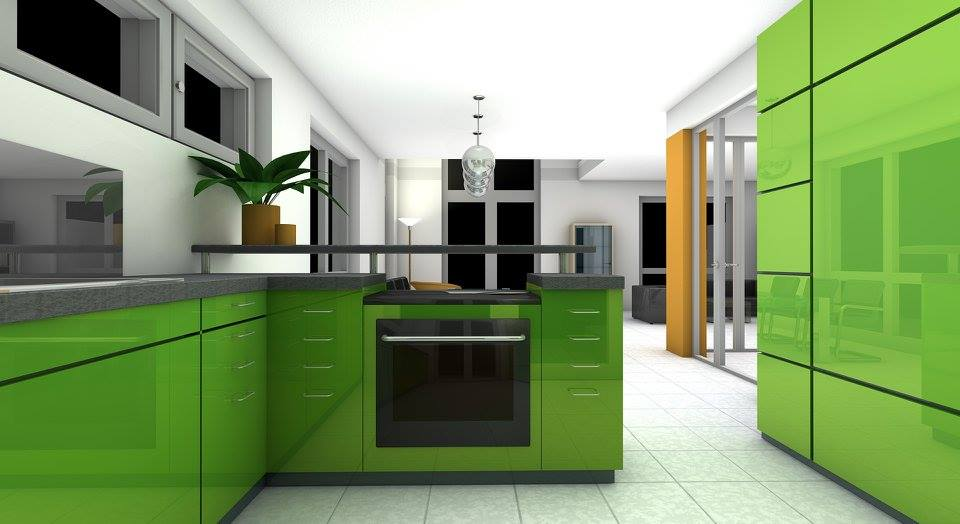 Green 3 D Modular Kitchen by Saravanan Modular-kitchen | Interior Design Photos & Ideas