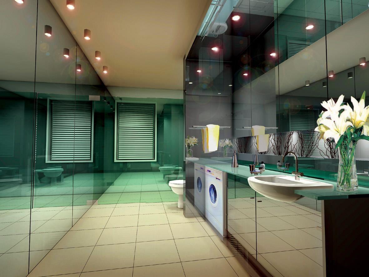 Glass enclosed bathroom with LED spot lights and white fittings by Entrix Shahkir Shaik Bathroom Modern | Interior Design Photos & Ideas