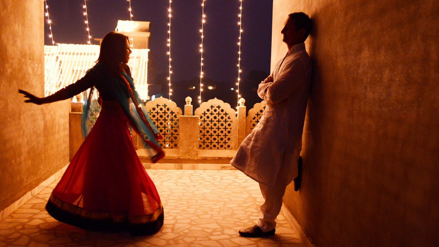 Bride And Groom Posing With Yellow Lights by Donil Arora Wedding-photography   Weddings Photos & Ideas