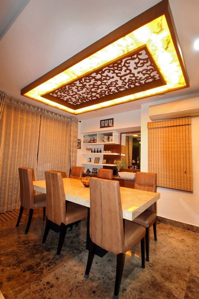 Wooden Design Dining Furniture With False Ceiling And