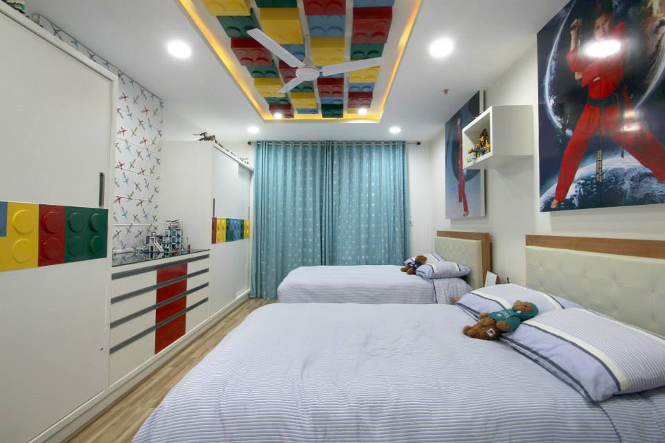 Kids Bedroom with White wardrobe and false ceiling by ...