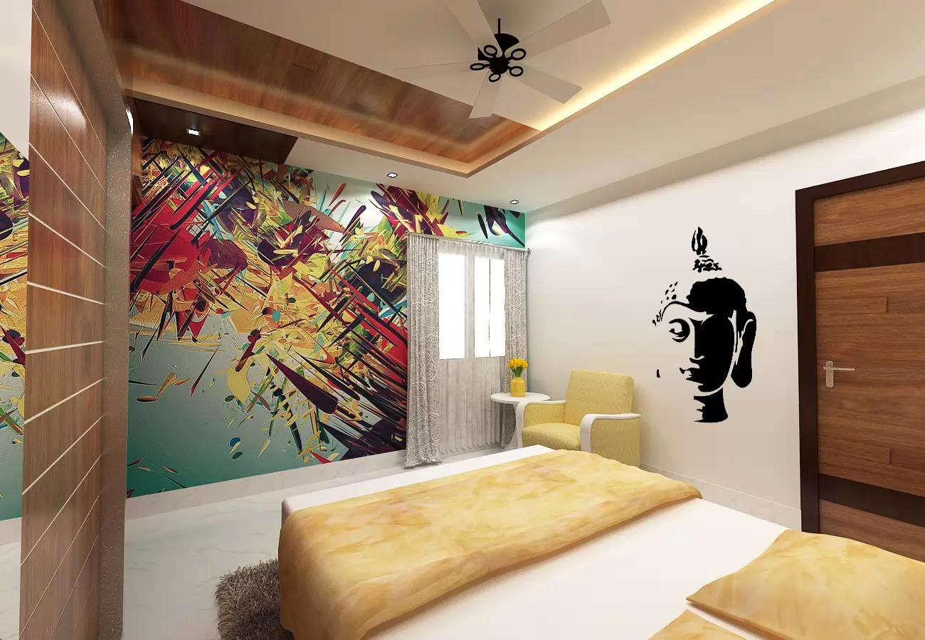 Abstract wall painting and false ceiling in bedroom by Ramana Rao P V Bedroom Contemporary | Interior Design Photos & Ideas