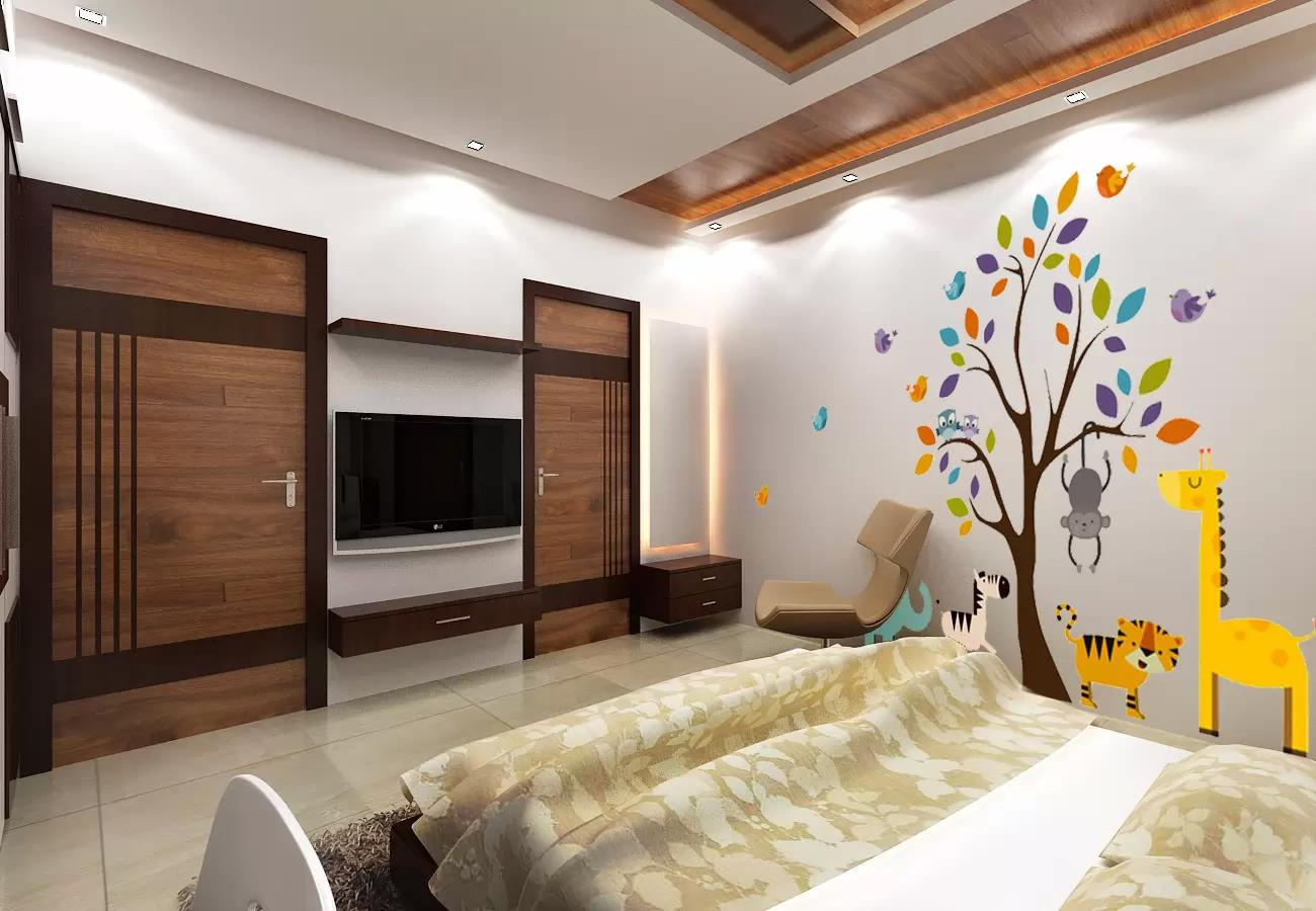 Wooden design bedroom with  wall decor by Ramana Rao P V Bedroom Modern | Interior Design Photos & Ideas