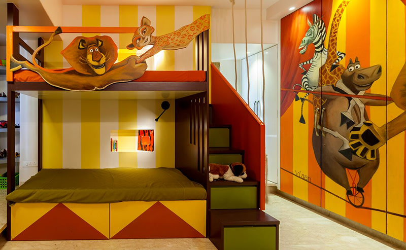 Yellow striped Kids Bedroom With Bunk Bed by Chaitali D Parikh Bedroom Modern | Interior Design Photos & Ideas