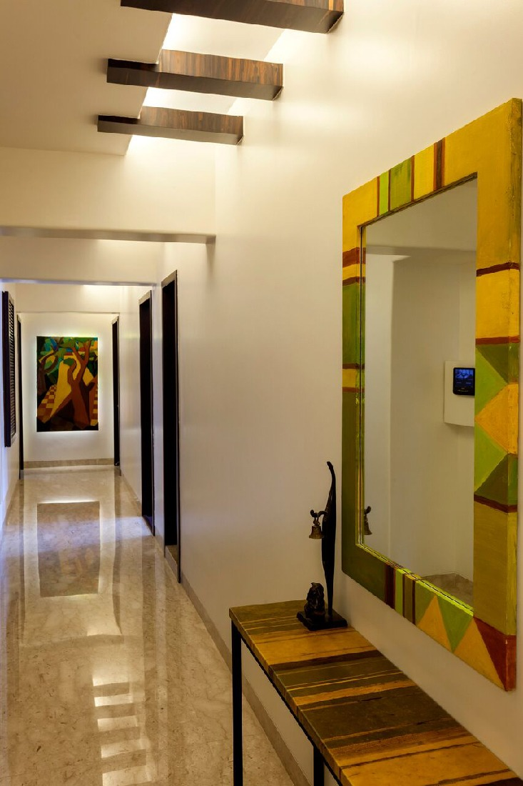 Hallway With Wooden Work On Ceiling by Chaitali D Parikh Indoor-spaces Contemporary | Interior Design Photos & Ideas