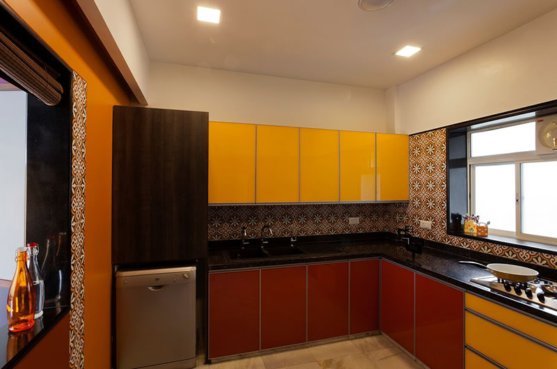 Yellow And Rufous Shaded L Shape Kitchen by Chaitali D Parikh Modular-kitchen Modern | Interior Design Photos & Ideas