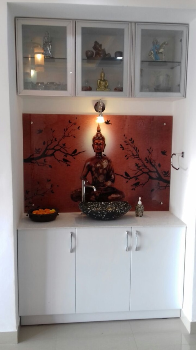 Patterned Washbasin with Buddha Wall Art and White Cabinets by Madhu Gunisetti Bathroom Contemporary | Interior Design Photos & Ideas