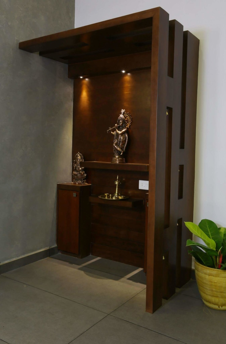 Prayer Room Design Ideas: Elegant Prayer Room With Dark Walnut Brown Unit By Madhu