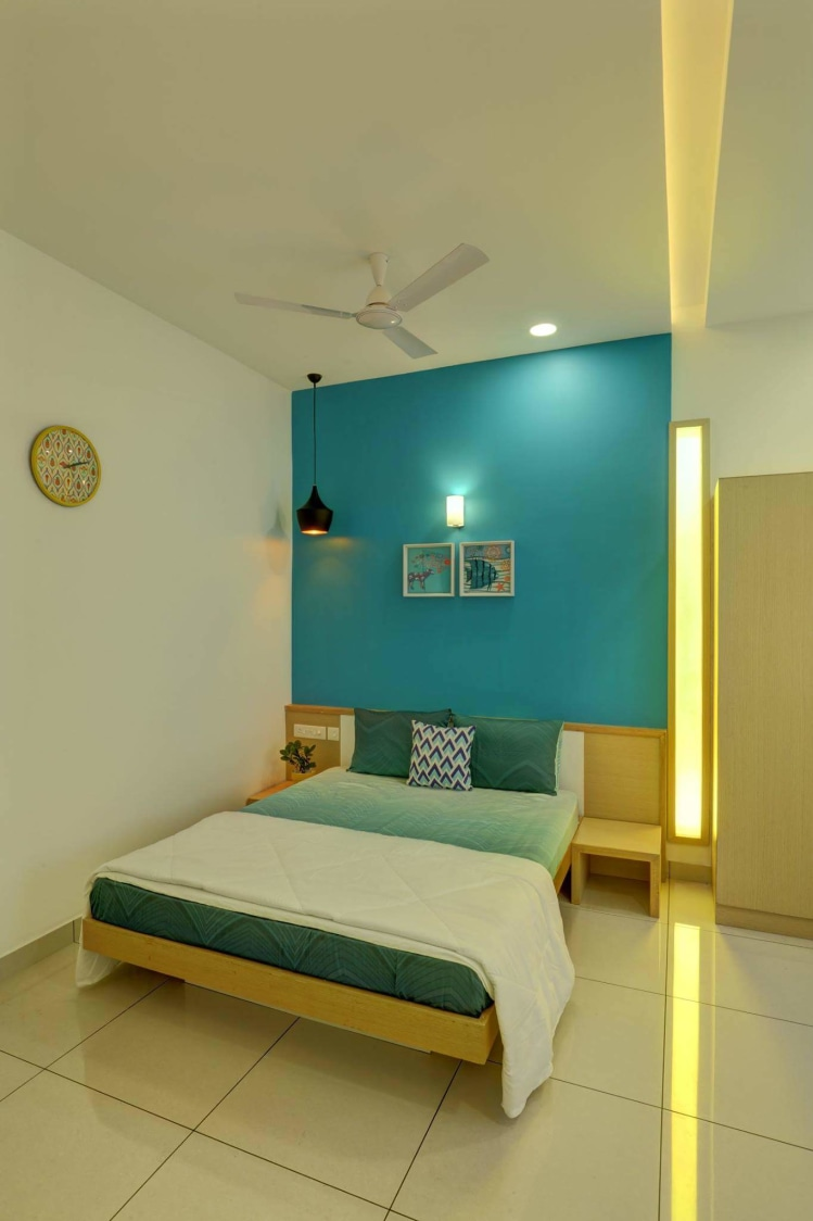 Guest Bedroom with Queen Size Bed and Blue Wall by Madhu Gunisetti Bedroom Contemporary | Interior Design Photos & Ideas