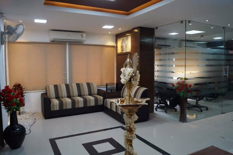 Waiting room with false ceiling and lavish sofa by Ganesh Modern | Interior Design Photos & Ideas