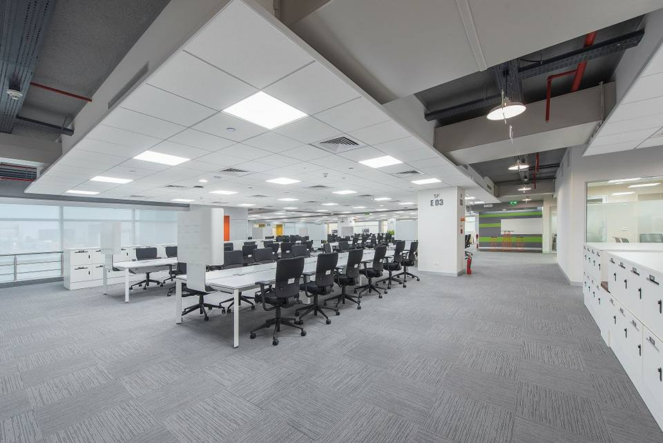 Open office space with false ceiling by Ganesh Modern | Interior Design Photos & Ideas