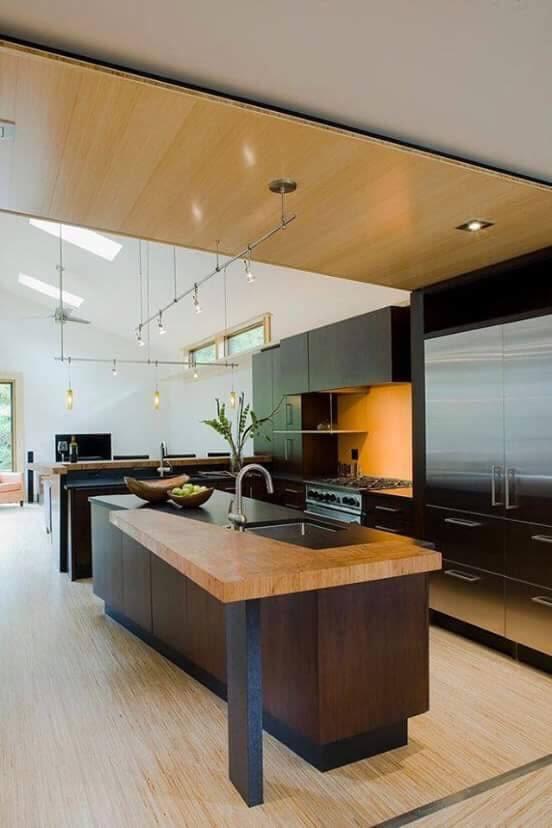 Wood Theme Open Island Modular Kitchen by Ganpat mistry Modular-kitchen Modern | Interior Design Photos & Ideas