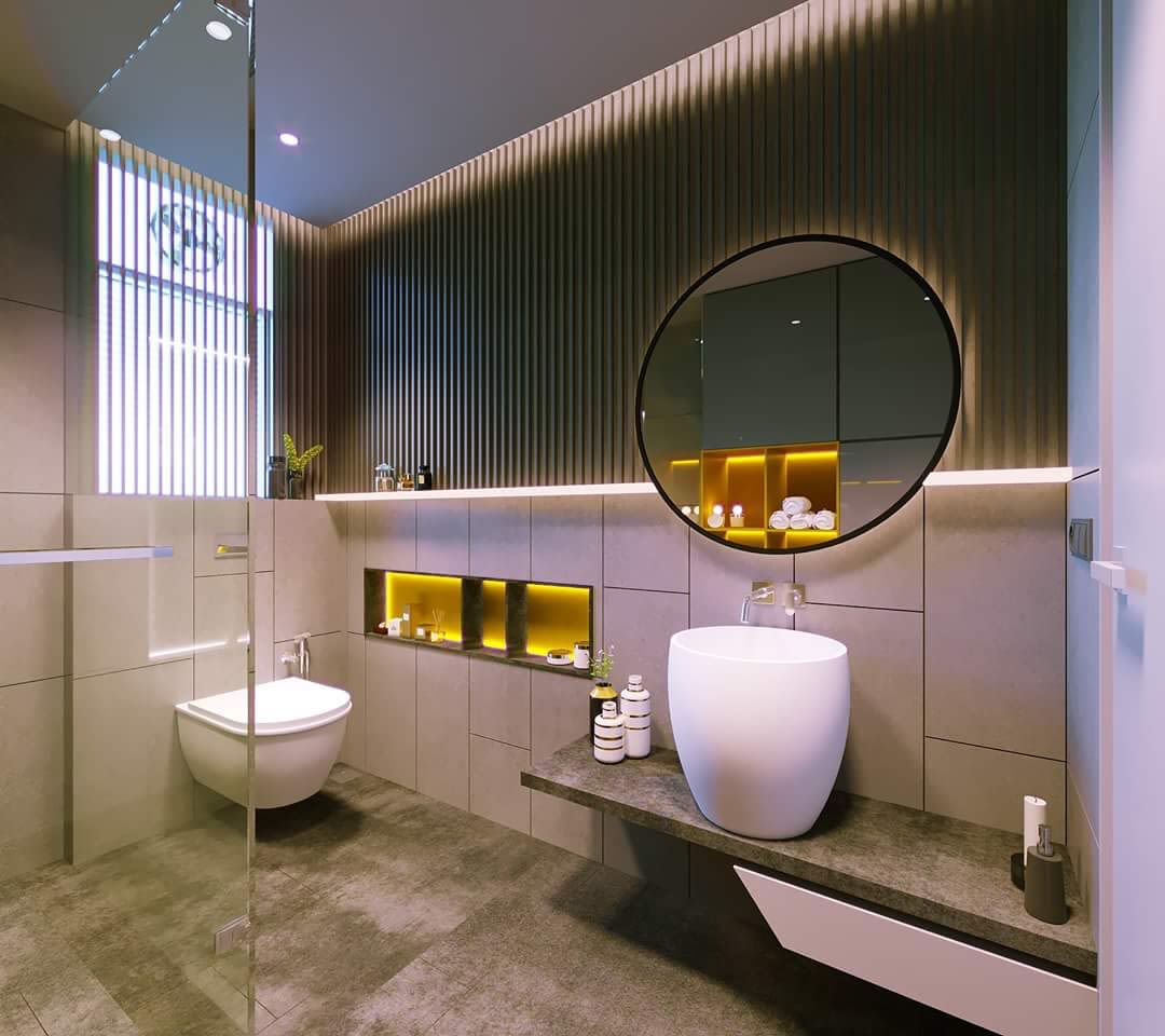 Stylish Bathroom With Unique Sanitaryware by Ganpat mistry Bathroom Modern | Interior Design Photos & Ideas