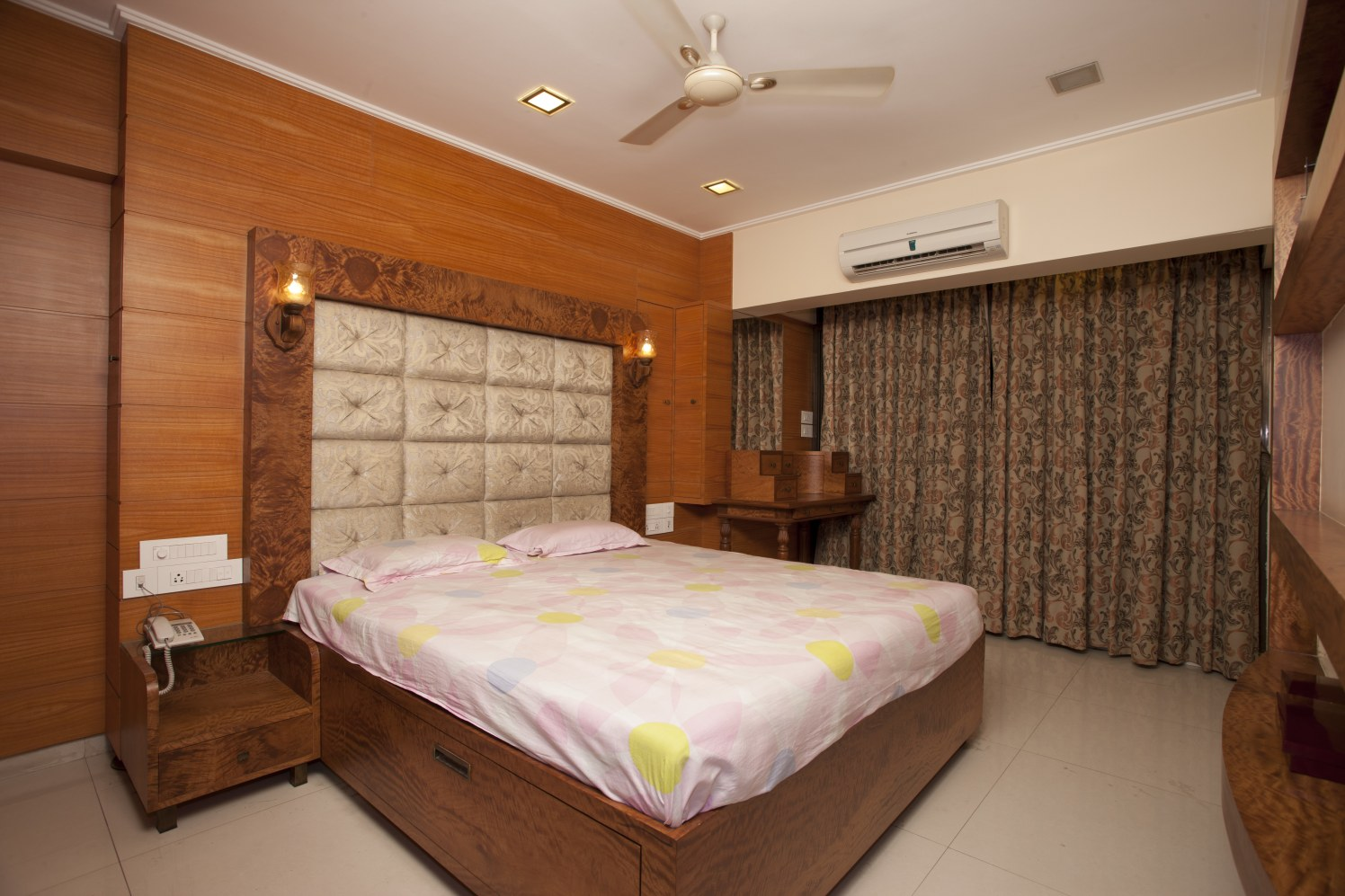 Wooden Bed With Beige Cushioned Head cover by Ravnit Kaur Sharma Bedroom Contemporary | Interior Design Photos & Ideas