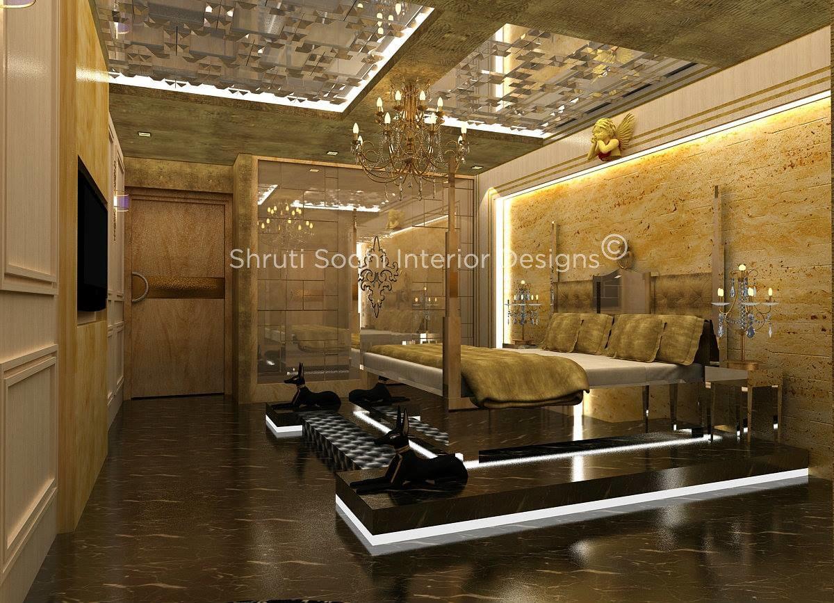 Luxury Design Bedroom With Black Marble Floor Design And Chandelier by Shruti Sodhi Bedroom Modern | Interior Design Photos & Ideas