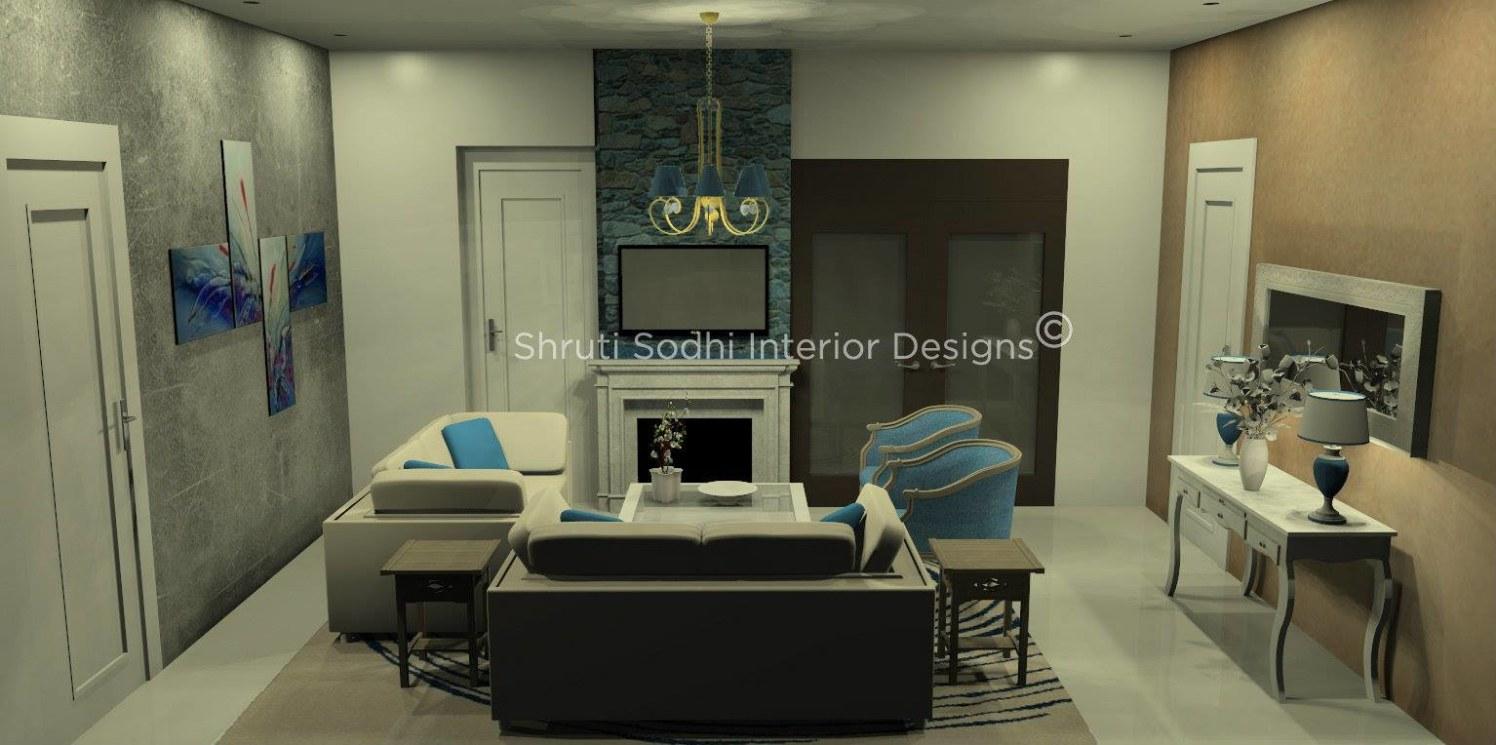The tranquiled Grey by Shruti Sodhi Living-room Contemporary | Interior Design Photos & Ideas