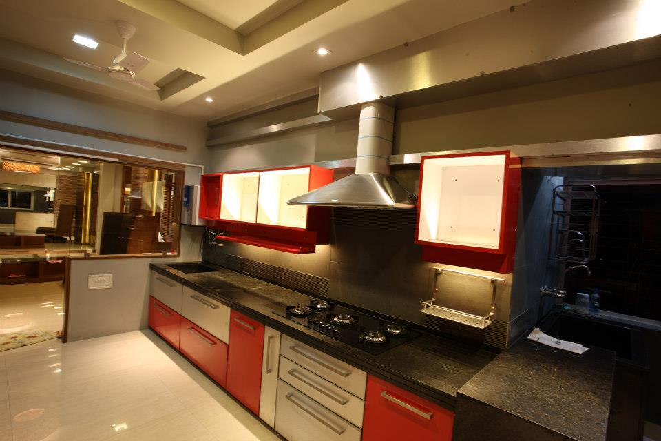 Red And White Modular Kitchen by Rajesh Basu Majumdar Modular-kitchen Contemporary | Interior Design Photos & Ideas